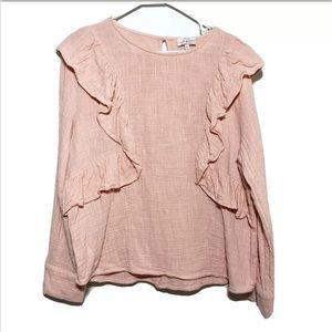 Lucky Brand Blush Pink Peach Ruffle Top Size XL Lo